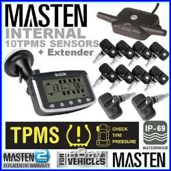 10 TPMS Tyre Pressure Monitoring System Caravan Truck RV 10 Sensor LCD 4WD Wire