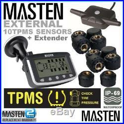 10 TPMS Tyre Pressure Monitoring System External Sensors 4wd Car Caravan Truck