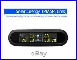1Set LCD Tire Pressure Monitor Gauge Real-time TPMS with 6 Sensors for RV Pickup