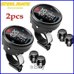 2x Motorcycle TPMS Tire Pressure Monitor System LCD with 2 External Sensors F2M0