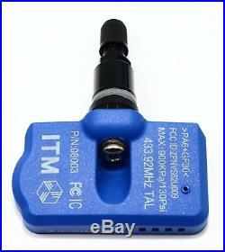 4 2004-2019 TPMS Tire Pressure Sensors OEM Replacement Gloss Black Valve Stems