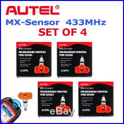 (4) Set of Autel MX-Sensor 433MHz Universal TPMS Sensor Tire Pressure