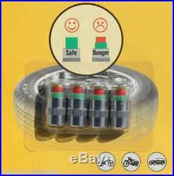 4 x Auto Tire Pressure Monitor Valve Stems Caps Sensor Indicator 3 Color for VW
