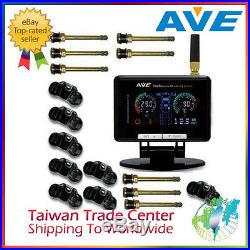 AVE TPMS Tire Pressure Monitoring System 4 Sensors + 4 Spares + Remote Control