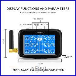 Auto Car Wireless RV TPMS Tire Pressure Monitoring System 6 Sensor LCD Adapter