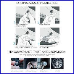 Auto Car Wireless RV TPMS Tire Pressure Monitoring System + 6 Sensor LCD Adapter
