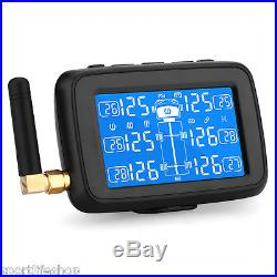 Auto TPMS Wireless Car Truck Tire Pressure Monitor System+6 External Sensors LCD