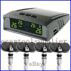 Auto Wireless Solar TPMS Tire Pressure Monitor System 4xBuilt-in Sensor 433MHZ