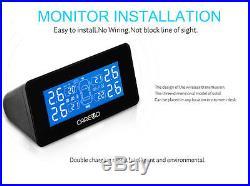 Auto Wireless TPMS Tire Pressure Monitoring System + 4 Internal Sensors LCD