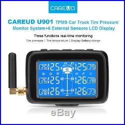 CAREUD U901 Auto Wireless Car Truck Tire Pressure +6 Sensors LCD TPMS Monitorin
