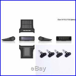 Car Solar Charge TPMS Tire Pressure Monitor System+4 Built-in Internal Sensor