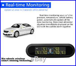 Car Solar Power Wireless TPMS Tire Pressure Monitoring System 6 Sensors T650 US