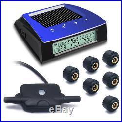 Car TPMS Tire Pressure Solar Monitoring System+6 Sensor LCD Display RV Trailer