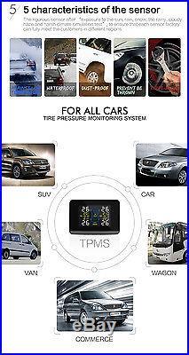 Car Universal TPMS Tire Pressure Monitor System+4 Internal Sensors LCD Monitor