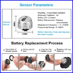 Caravan Trailer Truck Tyre Pressure Monitoring System TPMS 6 Wheel Sensors