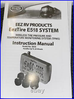 Eez RV TPMS Tire Pressure Monitoring System Monitor + 4 AT Sensors