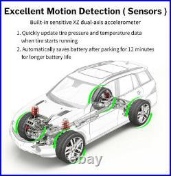 LCD Car Solar Tire Pressure Monitoring System Wireless TPMS + 4 Internal Sensors
