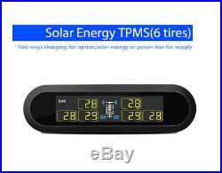 LCD Solar Energy Tire Pressure Monitor TPMS 6 External Sensor for RV Trailer