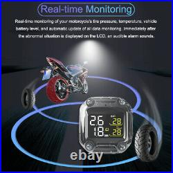 Motorcycle TPMS Wireless Tire Pressure Monitoring System LCD +2 External Sensors