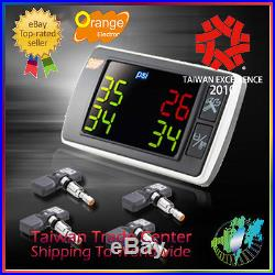 Orange TPMS Universal Tire Checker Pressure Monitoring System 4 G Sensor 76 Psi
