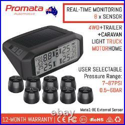 PROMATA External RV TPMS 8 Sensor Solar Wireles Tyre Pressure Monitor Mata1-8E