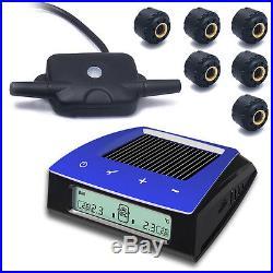 RV Car Solar Energy LCD TPMS Tire Tyre Pressure Monitoring System +6 Sensors
