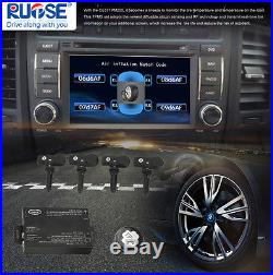 Rupse TPMS Tire Pressure Monitor System+4 Sensors Displayed on DVD Video Monitor