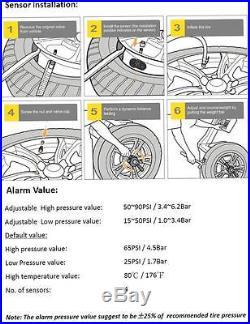 Solar LCD TPMS Tire Pressure Monitoring System + 4 Sensors for Car Trailer TP-V1