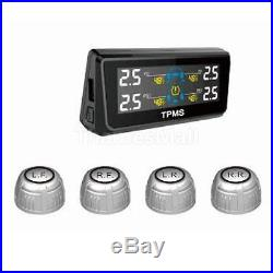 Solar Panel Universal TPMS Tire Pressure Monitor System 4 External Sensor
