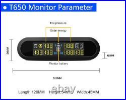 Solar Power LCD TPMS Tire Pressure Monitoring System 6 Sensors For RV Van Pickup