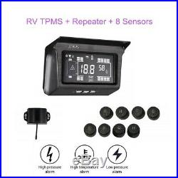Solar Power TPMS Tire Pressure Monitoring System 8 Sensor with Repeater For Van RV
