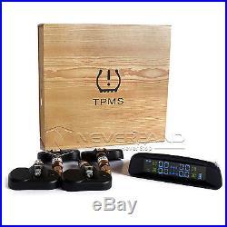 Solar Power TPMS Tyre Tire Pressure Monitoring System 4 Internal Sensor For Cars
