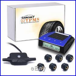 Solar Power Wireless LCD Tire Pressure Monitor System Car TPMS+6 External Sensor