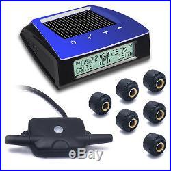 Solar Power Wireless TPMS Tire Pressure LCD Monitoring System 6 Sensors Trailer