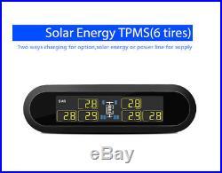 Solar Tire Pressure Monitor Gauge TPMS with 6 Sensor Set for RV Pickup Trailer Van