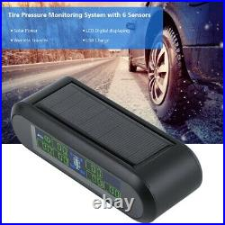 Solar Wireless TPMS Tyre Tire Pressure LCD Monitor System+6 Internal Sensors AU