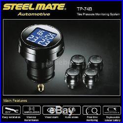 Steelmate 4 Sensors TP-74B TPMS Tire Pressure Monitor System LCD LED PSI Z6L3