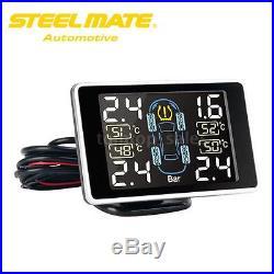 Steelmate Wireless LCD TPMS Tire Pressure Monitoring System+4 External Sensors
