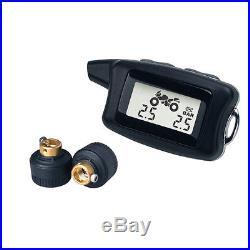 -TPMS Motor Cycle Bike Wireless DIY Tire Pressure Monitor System 2 Sensors LCD