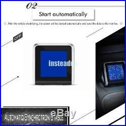 TPMS Tire Pressure LCD Display Monitoring System Wireless 4 Internal Sensors