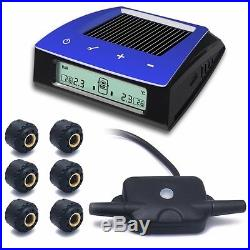 TPMS Tire Pressure Solar Monitoring System +6 Sensor LCD Display for RV Car Auto