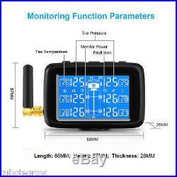 TPMS Tire Tyre Pressure Monitoring System 6 Tire Pressure Sensors LCD Car Truck