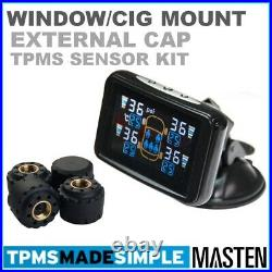 -TPMS Tyre Pressure Monitoring LCD System Wireless External Sensors x 4 Trailer