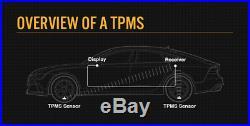 TPMS Tyre Pressure Monitoring System LCD Internal Valve Sensors x 4 Car, Caravan