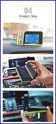 Tire Pressure Monitor System+4pcs Internal Sensors Solar Power Cigarette Lighter