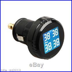 Tire Pressure Monitoring System Cigarette Plug Wireless 4 Sensors PSI For Ford