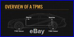 Tyre Pressure LCD TPMS Monitoring System External Sensors x 4 Wireless Caravan