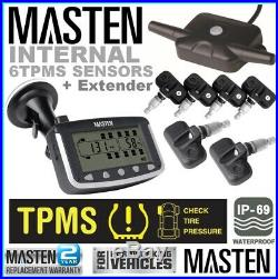 Tyre Pressure TPMS Monitoring System Internal Valve Sensors x 6 LCD 4WD Truck