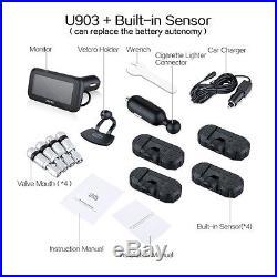 U903 Auto Car Wireless TPMS Tire Pressure Monitoring System + 4 Internal Sensor