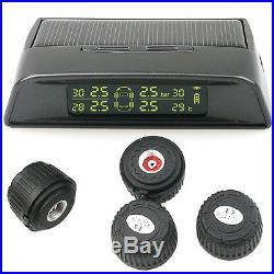 Universal AUTO Wireless TPMS Tire Pressure Solar Monitor + 4 x Valve Cap Sensor